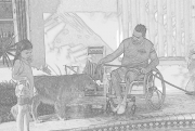 Man-in-wheelchair-with-his-daughter-and-dog