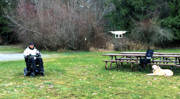 Man-in-power-wheelchair-flying-drone